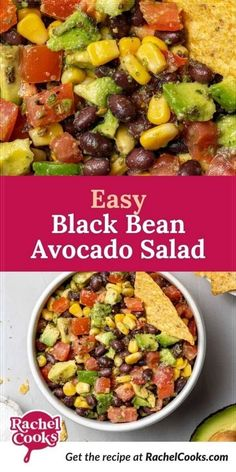 Looking for an easy salad recipe? You will love this black bean and avocado salad. It works as a light lunch served on a bed of greens or as a dip with tortilla chips. Almost everyone loves it and if you bring it to your next get-together, I promise you, it will disappear before your eyes. Easy Salads, Healthy Salad Recipes, Lunch Recipes, Appetizer Recipes, Healthy Snacks, Party Appetizers, Dip Recipes, Avocado Dip, Tortilla Chips