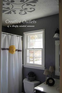 Getting creative with a small bathroom on a small budget ~ Outlets of a Thrifty Minded Momma: More Respect for Michelangelo and a Bathroom Reveal!