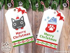 Printable Christmas Set of 6 Cat gift tags Holiday Gift Tags