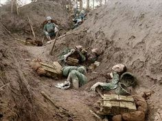 Fallen italian soldiers in trench at the Piave (1915)
