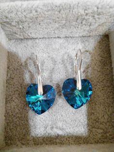 HANDMADE Kira Beatrize: 107. Kolczyki Heart Bermuda blue midi