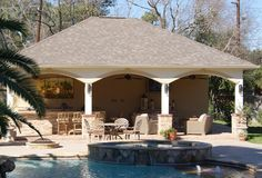 A beautiful pool became even more enjoyable with the addition of this multi-purpose pool cabana.