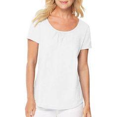 Hanes Women's Shirred S/S Scoopneck T-shirt, Size: Medium, White