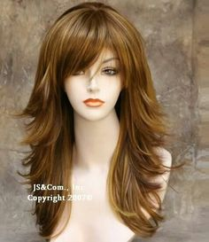 Ericdress Long Mixed Color Layered Side Wavy Hairstyle Synthetic Hair Capless Wig 18 Inches - New Site Medium Hair Cuts, Medium Hair Styles, Short Hair Styles, Updo Styles, Long Layered Haircuts, Straight Hairstyles, Layered Hairstyles, Long Shag Hairstyles, Wavy Haircuts