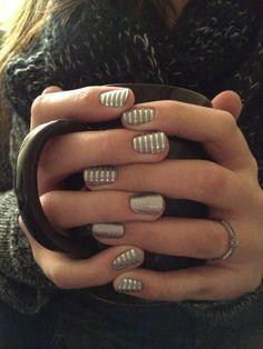 Grey and silver horizontal pinstripes // #nails #nailart