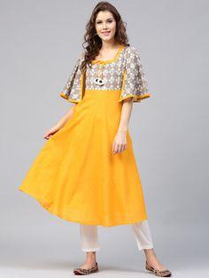 AKS Yellow & Grey Yoke Design Anarkali Kurta #Cotton #Summer #Yellow #Kurta #Kurtis #Casual #Printed #Anarkali