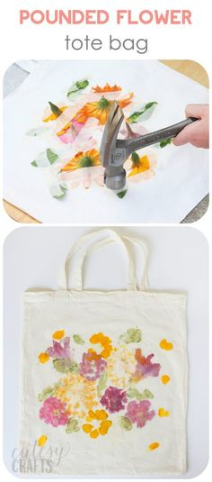 3d0c180bea8 Keep the kids busy making a beautiful tote with dye from pounded flowers.  It s so