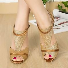 Latin Customizable Women's Sandals Customizable Heel Paillette Buckie Dance Shoes(More Colors) – AUD $ 50.04