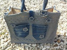 Recycled denim jean and crochet handbag Crochet Handbags, Crochet Purses, Crochet Bags, Love Crochet, Knit Crochet, Mochila Crochet, Denim Ideas, Diy Couture, Denim And Lace