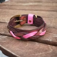 $46 AUD Leather Braided Dog & Cat Collar Pink/Brown- Handmade