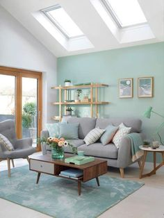 72 blue living room scandinavian paint color ideas why a blue living room can feel so good 16 - coodecors Colourful Living Room, Living Room Green, Beautiful Living Rooms, Home Living Room, Living Room Turquoise, Bright Living Rooms, Living Room Decor Ideas Apartment, Design Apartment, Living Room Color Schemes