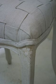 Woven drop cloth on seat of a chair.  So easy and interesting :)