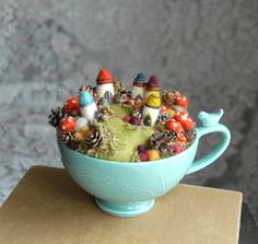 Tiny Fairy Houses and Village, Waldorf Fairy Garden in a Cup, Needle Felted Fairy Village, Pot Jardin, Gnome House, Fairy Houses, Little Houses, Mini Houses, Vintage Tea, Felt Crafts, Cup Crafts