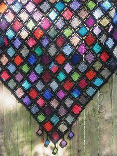 Boho shawl  triangular crochet shawl  big crochet kerchief