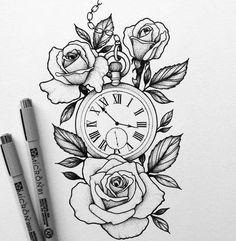 Tattoo Painting, Rose Drawing Tattoo, Tattoo Sketches, Tattoo Drawings, Drawing Sketches, Flower Drawings, Hai Tattoos, Body Art Tattoos, Sleeve Tattoos