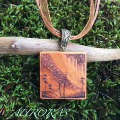 Aurora necklace wood jewelry wooden pendant necklace