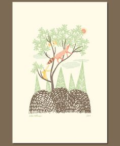 Moonlit Clearing Letterpress Print by Julia Rothman for Hello!Lucky