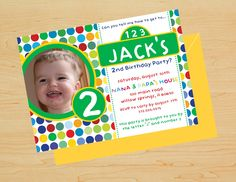 Children's birthday invitation. Check out the website to order this look or create a custom order!
