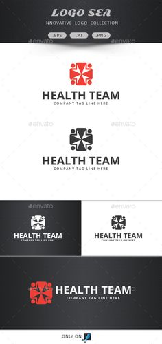 Health group vector logo:  Clean health symbol vectorlogo design. Easily editable colors , text and fix your project. Flat version