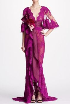 Marchesa Orchid Pink Corded Lace Cape Sleeve Gown | Poshare