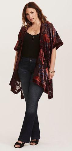 Plus Size Velvet Kimono #Plussize