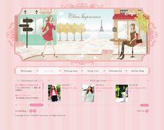 女性が好みそうなパステルストライプ×フローラルな飾り枠のデザインです。 男性にはなかなか難しい世界観ですが、いろいろ見て参考にしたいところです。 http://www.clearimpression.jp/