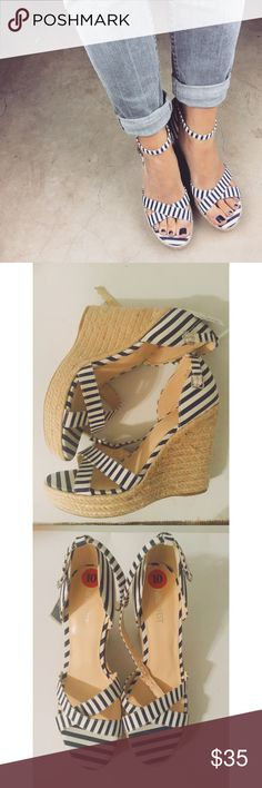 Brand new Nine West nautical wedges Blue and white striped wedges Nine West Shoes Wedges