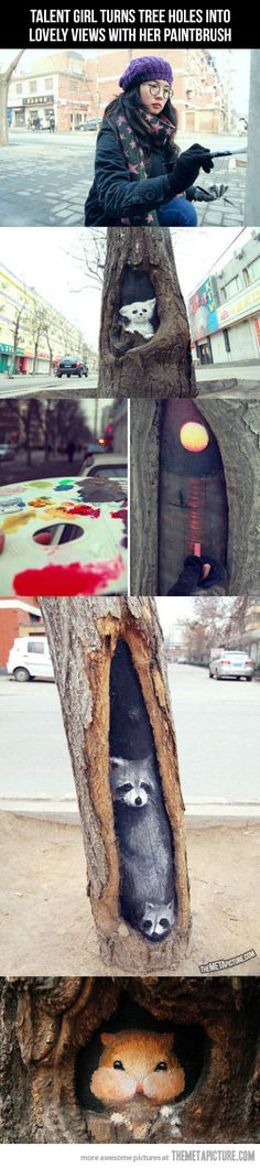 Art inside tree holes… Artwork by Wang Yue. Over 3 mo. in 2013 she painted over eleven tree trunks on Jiuzhong Street (China). Each piece takes Wang about two hours to complete.