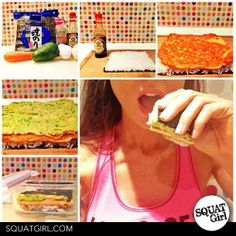 lunch suggestion: sushi sandwich! #healthy #food #sushi #sandwich #squat #fitness #healthyfoodsuggestions  visit squatgirl.com for more Sushi Sandwich, Squats, Healthy Food, Sandwiches, Nutrition, Lunch, Fitness, Health Foods, Gymnastics