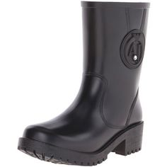 Armani Jeans Women's AJ SHORT RAINBOOT Rain Boot ($185) ❤ liked on Polyvore featuring shoes, boots, short wellington boots, short boots, wellies boots, armani jeans shoes and wellington boots