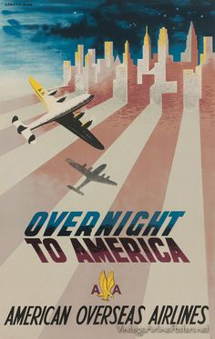 American Overseas Airlines vintage travel poster