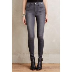 Paige Margot Skinny Jeans ($189) ❤ liked on Polyvore featuring jeans, luna grey, straight jeans, high-waisted jeans, super high rise skinny jeans, gray skinny jeans and high waisted denim skinny jeans