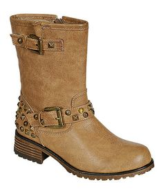 Take a look at this Khaki Studded Jayda Boot by PINKY FOOTWEAR & More on @zulily today!