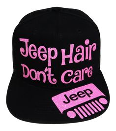 "NEW! Neon Pink Glitter ""Jeep Hair Don't Care"" Black Flat Bill Baseball Cap! Order at www.shopspiritcaps.com"