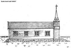 Sketch of the Syvde church 1837 viewed from the seaside.