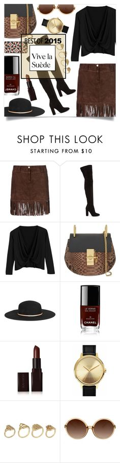"""BEST OF 2015: Suede and Fringe"" by sonny-m ❤ liked on Polyvore featuring George J. Love, Gianvito Rossi, Chloé, Gucci, Chanel, Laura Mercier, Nixon, ALDO, X-Ray and Tarxia"