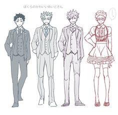 Only Tsukki wore the maid outfit AHAHA Haikyuu Tsukishima, Sugawara Koushi, Kuroo Tetsurou, Akaashi Keiji, Haikyuu Fanart, Kagehina, Kenma, Haikyuu Anime, Kuroken