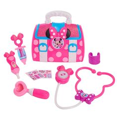 Disney Junior's Minnie Mouse Minnie's Happy Helpers Bow-Care Doctor Bag Set by Just Play Baby Girl Toys, Toys For Girls, Kids Toys, Baby Dolls, Doc Mcstuffins Toys, Ryder Paw Patrol, Minnie Mouse Toys, Minnie Mouse Kitchen, Minnie Bow