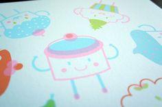 Cupcake Flavors / Silkscreen from piktorama etsy shop
