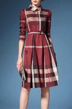 Joy&joso Claret Hit Color Plaid Shirt Dress
