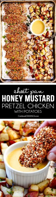 This Sheet Pan Honey Mustard Pretzel Chicken & Potatoes is one of our favs! The juicy chicken is irresistibly crunchy, the potatoes melt-in-your-mouth and the Honey Mustard Sauce is perfection! via @carlsbadcraving