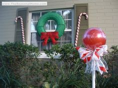 Last Trending Get all diy outdoor christmas candy decorations Viral lollipops red Outside Christmas Decorations, Candy Decorations, Christmas Lights, Outdoor Decorations, Outdoor Ideas, House Decorations, Candy Land Christmas, Christmas Holidays, Christmas Wreaths
