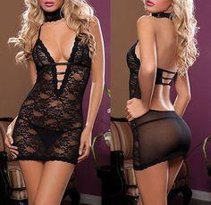 Sexy-Lingerie-Womens-Sleepwear-Underwear-Babydoll-Black-Dress-Costume-G-String