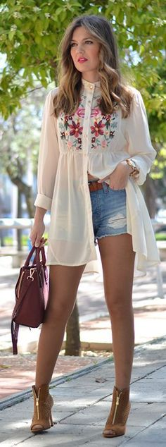 Embroidered Button-down Dress with Ripped Denim Sh...