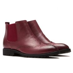 Wholesale Retro Round Toe and Engraving Design Men's Boots (WINE RED,42) | Everbuying