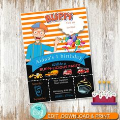 Blippi Party Invitiation, Corjl party invitation, Blippi Printable by AdrisCorner on Etsy