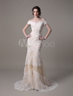 Champagne Vintage Mermaid Lace Wedding Dress With Off-the-Shoulder Sweep Train(Belt not Included)