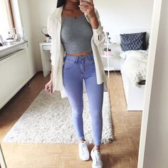 Shop this look! Basic Outfits, Casual Outfits, Simple Outfits, Summer Outfits, Girl Fashion, Fashion Outfits, Womens Fashion, Cheap Crop Tops, Look Cool