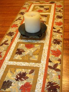 Autumn Quilted Table Runner Elegant Fall Leaves $45.00