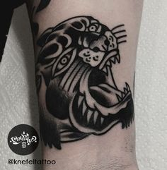 done by @KnefelTattoo at @chybatytattoo Katowice, PL  #oldschooltattoo #oldlines #traditionaltattoo #boldtattoo #vintagetattoo #tradworkers #classictattoo#vintage #traditional #oldschool #knefeltattoo #chybatytattoo #katowice #poland #tattooidea #tattoo #panther #blackpanther #blackwork